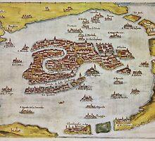 Vintage Map of Venice (1649)  by BravuraMedia