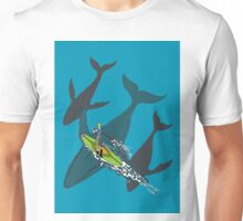Paddle Boarding over Whales Unisex T-Shirt
