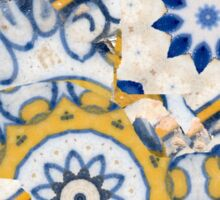 Tiles white, blue and yellow - by Ana Canas Sticker