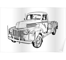 Old Flat Bed Ford Work Truck Illustration Poster