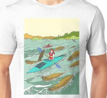 Kayaking among the Seals. Unisex T-Shirt