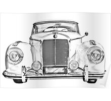 Mercedes Benz 300 Luxury Car Illustration Poster