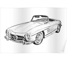 Mercedes Benz 300 SL Convertible Illustration Poster