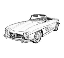 Mercedes Benz 300 SL Convertible Illustration Photographic Print