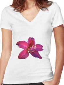Red flower Women's Fitted V-Neck T-Shirt