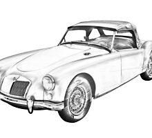 MG Convertible Sports Car Illustration by KWJphotoart