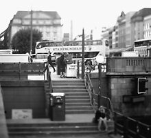 Hamburg City -b&w -street by OLIVER W
