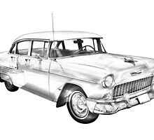 1955 Chevrolet Bel Air Illustration by KWJphotoart