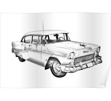 1955 Chevrolet Bel Air Illustration Poster