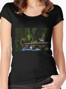 Whimsical Fantasy Scene With Crazy Characters Women's Fitted Scoop T-Shirt