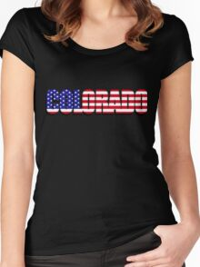 Colorado United States of America Flag Women's Fitted Scoop T-Shirt