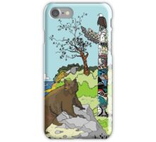 Bear standing by a Totem Pole iPhone Case/Skin
