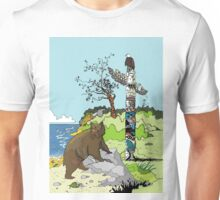 Bear standing by a Totem Pole Unisex T-Shirt