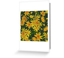 Flowers and leaves of artichoke on a dark green background. Greeting Card