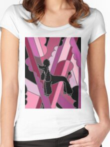 Cool Funky Black Poodle Abstract Art Women's Fitted Scoop T-Shirt