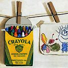 Crayola Crayons & Drawing realistic still life painting by LindaAppleArt