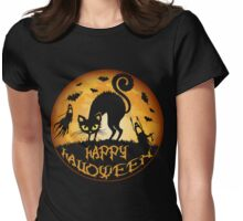 Happy Halloween Costume Alternative Scary Cat Hallomeow Womens Fitted T-Shirt