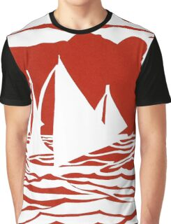 Paper art - Sailing Boats at Sunset on bright red background Graphic T-Shirt