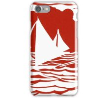 Paper art - Sailing Boats at Sunset on bright red background iPhone Case/Skin