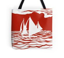 Paper art - Sailing Boats at Sunset on bright red background Tote Bag