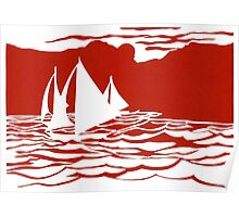 Paper art - Sailing Boats at Sunset on bright red background Poster