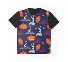 seamless pattern of Halloween items of pumpkins, books, skulls and hats Graphic T-Shirt