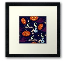 seamless pattern of Halloween items of pumpkins, books, skulls and hats Framed Print