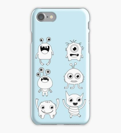 Black and white silly monsters iPhone Case/Skin