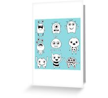 Black and white silly monsters Greeting Card