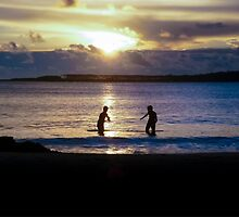Childrens Playing in the Sea at Sunset by DFLC Prints