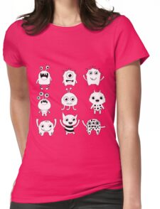 Black and white silly monsters Womens Fitted T-Shirt