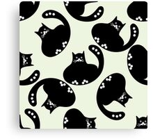 Cartoon pattern with cute black cats Canvas Print