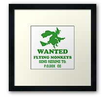 Wanted Fying monkeys Framed Print