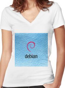 Debian blue color leather texture Women's Fitted V-Neck T-Shirt