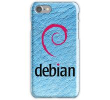 Debian blue color leather texture iPhone Case/Skin