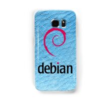 Debian blue color leather texture Samsung Galaxy Case/Skin