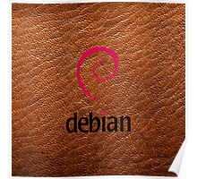 Debian brown color leather texture Poster