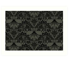 Stegosaurus Lace - Black / Grey Art Print