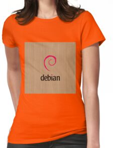 Debian white oak color wood texture Womens Fitted T-Shirt