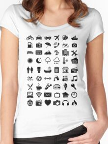 Travel Icons Language Women's Fitted Scoop T-Shirt