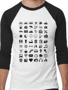 Travel Icons Language Men's Baseball ¾ T-Shirt