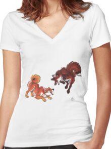 Lookalikes: Shiba & Fox Women's Fitted V-Neck T-Shirt