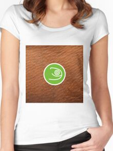 Opensuse with leather texture Women's Fitted Scoop T-Shirt
