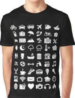 Travel Icons Language (White) Graphic T-Shirt