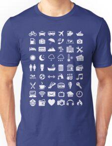 Travel Icons Language (White) Unisex T-Shirt