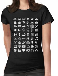 Travel Icons Language (White) Womens Fitted T-Shirt