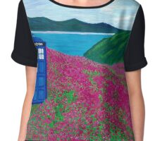 TARDIS: Flower Stop Chiffon Top