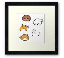 Cute Animal Blobs! Framed Print