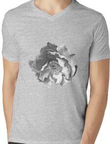 Black and White Rose Mens V-Neck T-Shirt