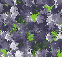 Purple and Green Leaf Pattern by 2HivelysArt